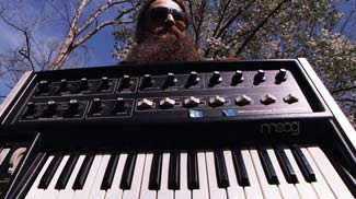 Evan Wilder with MicroMoog synthesizer